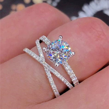 Silver Color Wedding Cubic Zirconia Crystal Ring