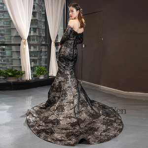 Image 3 - YeWen أسود حورية البحر فستان سهرة فستان رسمي فساتين عربية سهرة 2020 كم طويل
