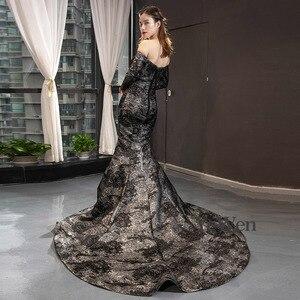 Image 3 - YeWen Black Mermaid Evening dress formal dress  arab dresses evening 2020 Long Sleeves
