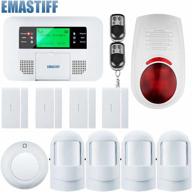 Wireless PSTN GSM Alarm Systems Android IOS APP Alarms Home Security System with indoor/outdoor flash siren brand new security alarm system kit smart ios android app 868mhz gsm pstn alarm system with friendly interface