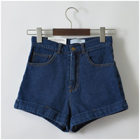 Women Denim Shorts Vintage High Waist Cuff Shorts Brand Denim Jeans Girls Casual Sexy Plus Size