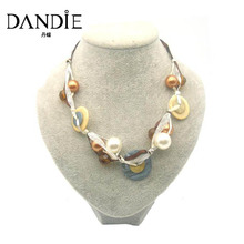 Dandie White Imitation Pearl Necklace For Women, Fashionable Popular Simple Design Jewelries
