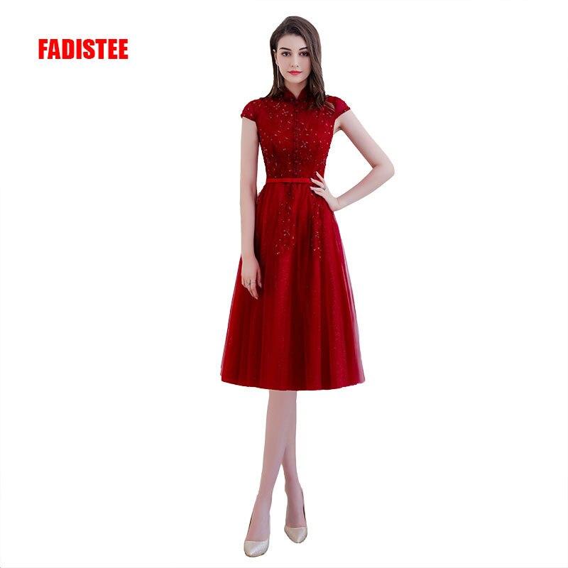 FADISTEE New arrival elegant Prom party Dresses  Vestido de Festa cap sleeve crystal beading high neck short style dress