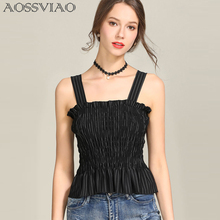 Elegant ruffle stripe print tank top Sexy off shoulder 2019 summer crop top cami Women up casual camisole tank white blouse pencil stripe knot cami top