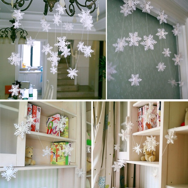 Frozen party supplies white snowflake shape paper garland christmas frozen party supplies white snowflake shape paper garland christmas wedding decoration scene new year decor home junglespirit Images