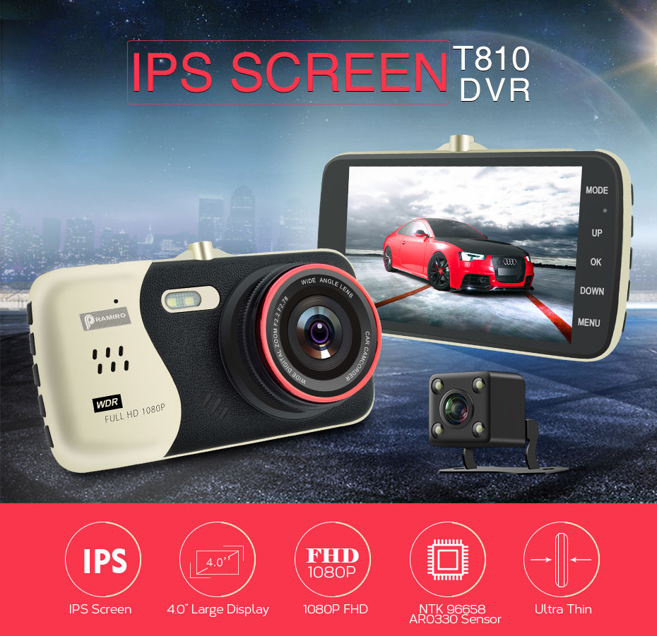 Original 4.0 Inch IPS Screen Car DVR Novatek NTK96658 Car Camera T810 Dash Camera Full HD 1080P Video 170 Degree Dash Cam bigbigroad for nissan qashqai car wifi dvr driving video recorder novatek 96655 car black box g sensor dash cam night vision