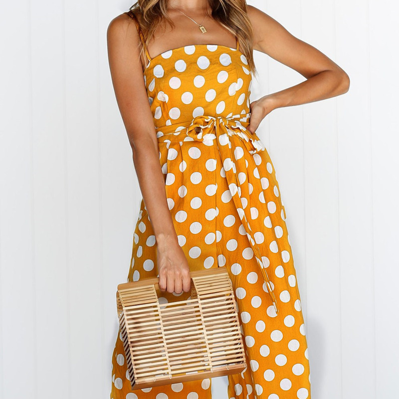 Rompers Womens Jumpsuit 2018 New Summer Holiday Beach Red Polka Dot  Jumpsuits Women Wide-Legged 64e055c1b8d5
