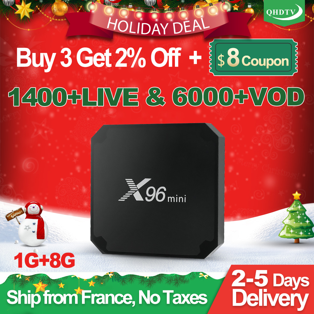 Frankreich IPTV Abonnement X96 MINI Android 7.1 S905W 1 Jahr QHDTV Code IPTV Belgien Französisch Dutch Arabisch IPTV Box X96mini