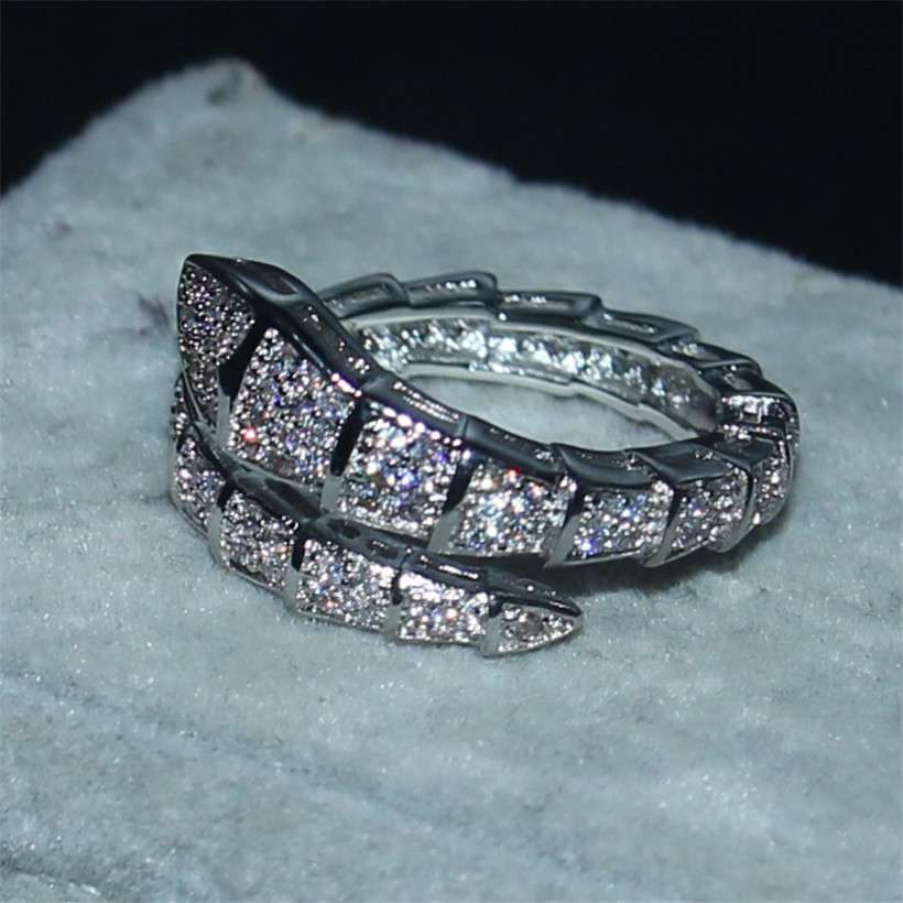 1c70f75c159 Choucong Jewelry Brand 10KT white gold filled cz Snake Ring Fashion Pave  setting 5a Zircon Ring Wedding Band for Women sz 5 10-in Rings from Jewelry  ...
