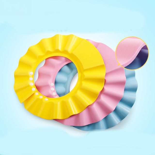 Baby Waterproof Bath Hat Practical Solid Color Adjustable Baby Kids EVA Soft Shampoo Shower Bathing Protection Hair Cap