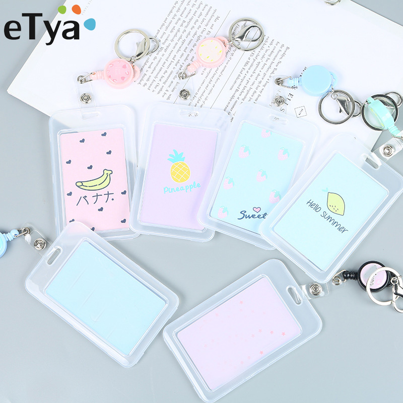 ETya Cute Cat Bank ID Card Holder Card Cover Case Cartoon Student  Women Men Business Credit Card Holders Bag Wallet Kids Gift