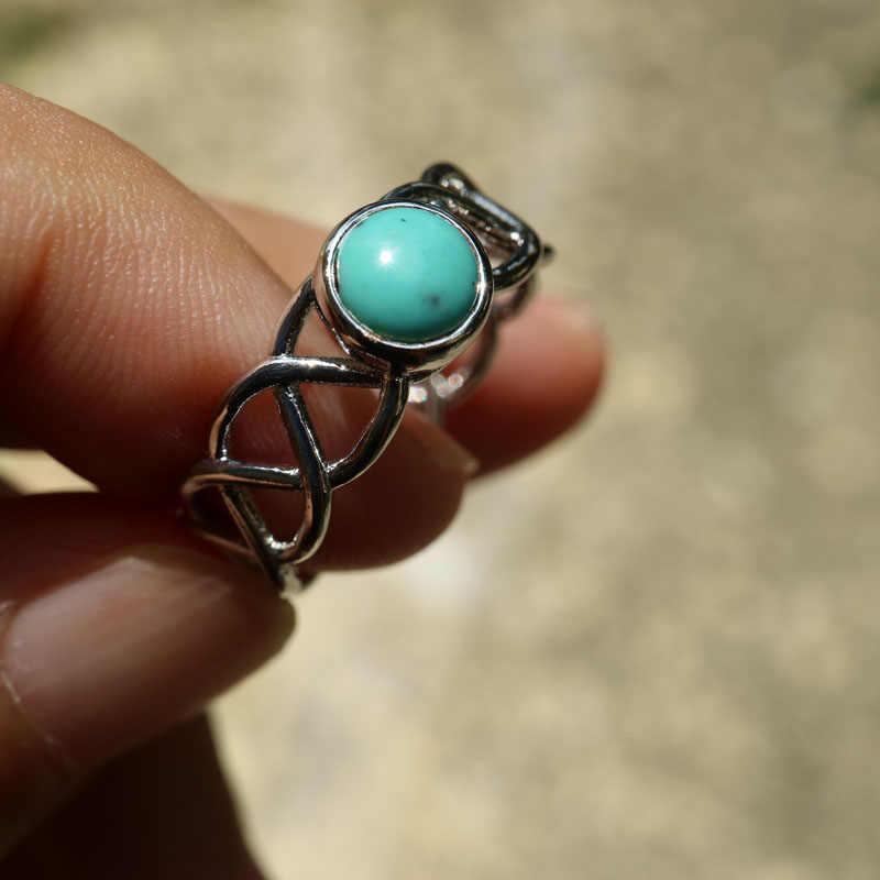 Bamos Vintage หินสีเขียวแหวนเงินสี Cross Wave แหวนธรรมชาติที่ไม่ซ้ำกันสำหรับ Bohemian turquoise เครื่องประดับ