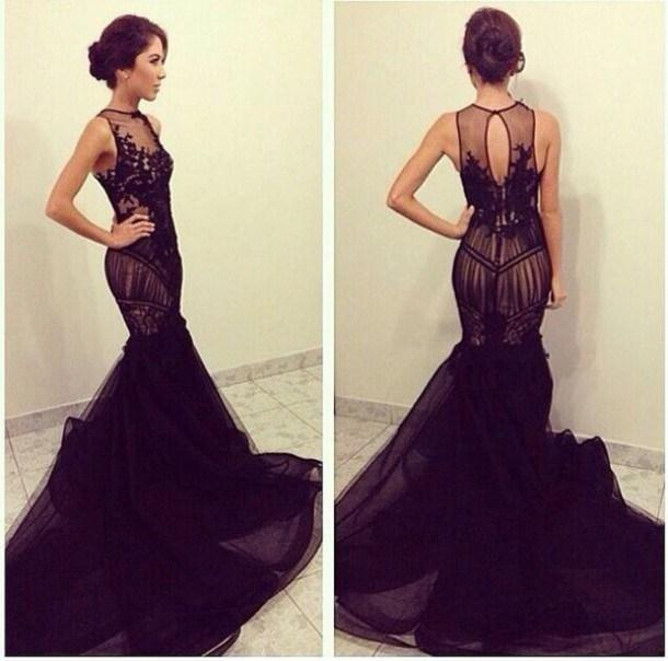 Sexy Black Mermaid Evening Prom Gown Formal Dress 2018 Scoop Sleeveless Lace Appliques Custom Cheap  Mother Of The Bride Dresses