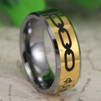 Cheap Price Free Shipping USA Canada Hot Selling 8MM The BioShock A man chooses,a slave obeys New Golden Tungsten Wedding Ring