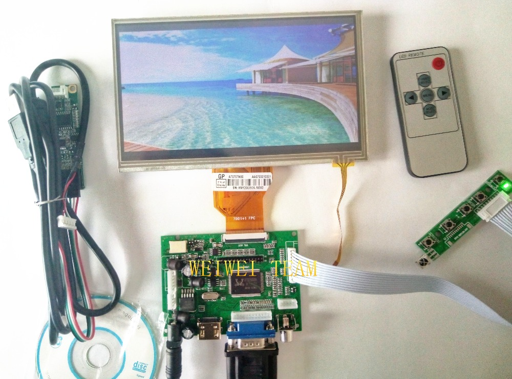 for INNOLUX 7.0 inch Raspberry Pi LCD Display Screen TFT LCD Monitor AT070TN90 with HDMI VGA Input Driver Board