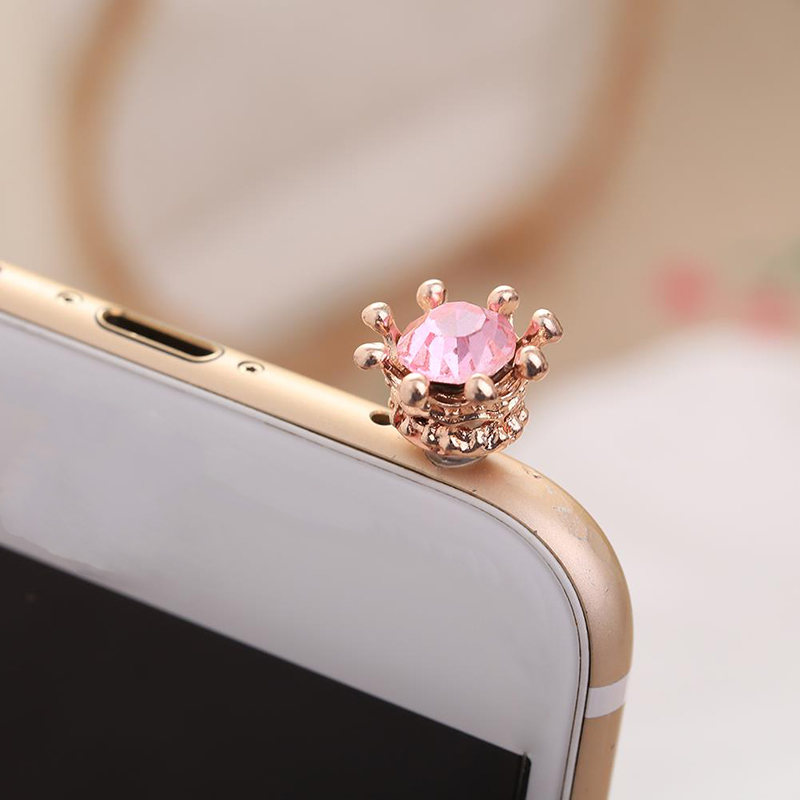 HTB1VIwEQPTpK1RjSZKPq6y3UpXam Mobile Phone Dust Plug Rhinestones Crown Anti dust Plug Diamond Pendant Sweet Cell Phone Accessories Charge Port Plug For iphone