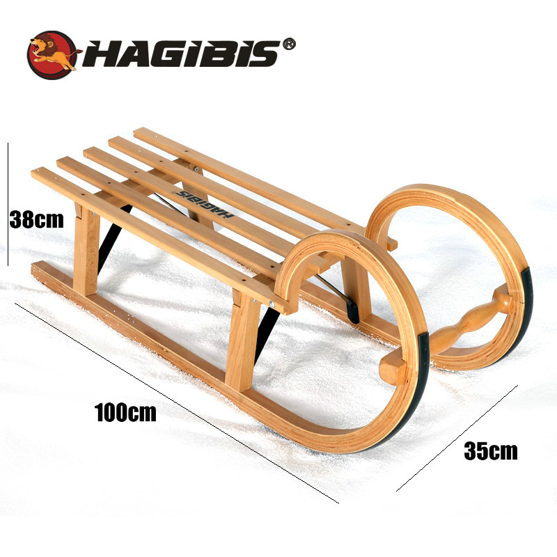HAGIBIS offre spéciale traîneau à neige d'hiver, Snowboard en bois de hêtre, traîneau pour les adolescents de plus de 5 ans - 2