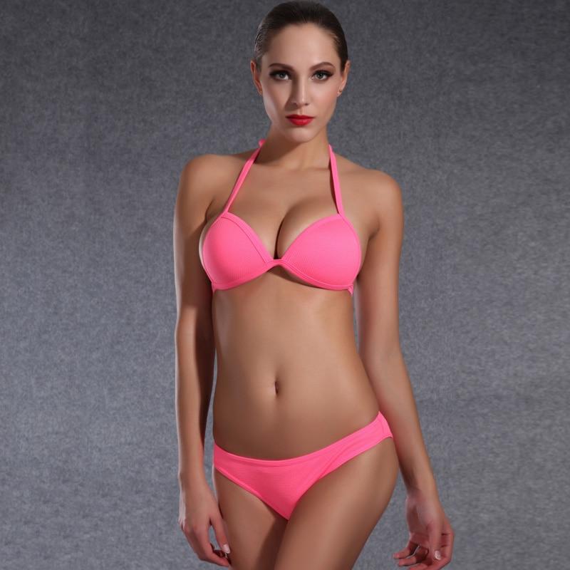 2016 Micro Brazilian Bikinis Women Swim Suit Solid Color Bikini Swimwear Halter Swimsuit Bathing Biquini 1624 - Isidore Store store