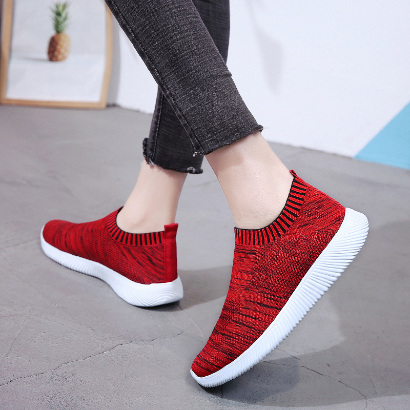 HTB1VIwWajDuK1Rjy1zjq6zraFXaU Rimocy plus size breathable air mesh sneakers women 2019 spring summer slip on platform knitting flats soft walking shoes woman