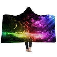 Мягкий удобный с капюшоном бросить Одеяло мягкие теплые Красочные звездное небо печати диване кровать флисовая ткань одеяла