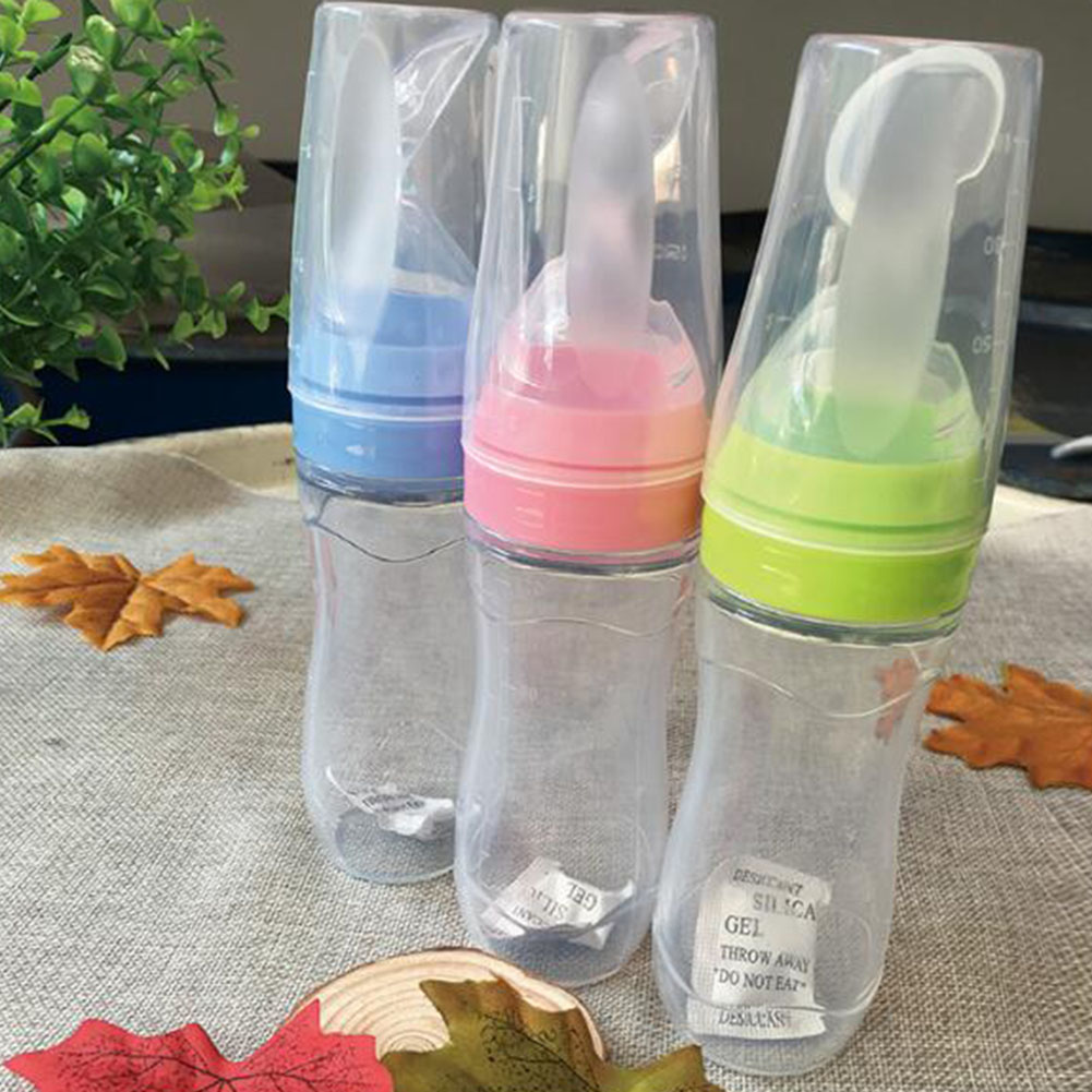 120ml Newborn Baby Bottle Leak-proof Food Dispensing Spoon Juice Cereal Feeding Bottle Spoon Food Supplement Rice Cereal Bottles