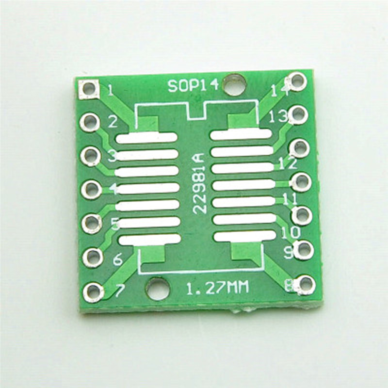 50pcs SOP14 SSOP14 TSSOP14 to DIP14 Pinboard SMD To DIP Adapter 0.65mm/1.27mm to 2.54mm DIP Pin Pitch PCB Board Converter Socket