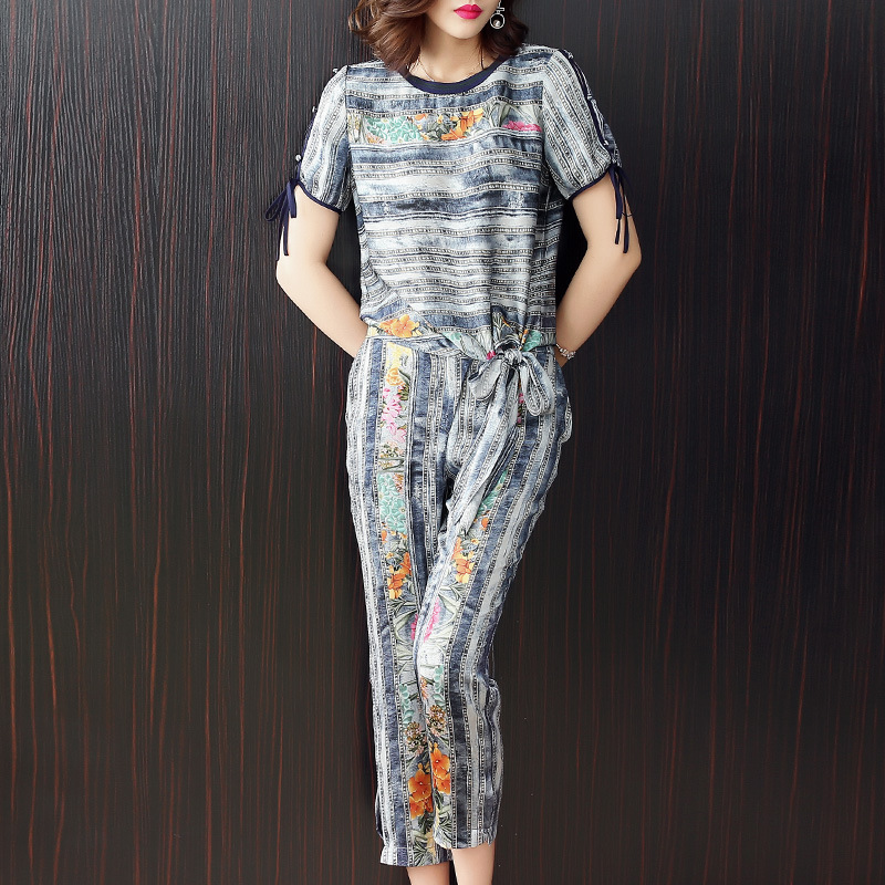 Print loose t-shirts and ankle length pencil pants 2 piece pants suits 2018 new runway women summer casual pants suits ankle length elastic mens pencil pants