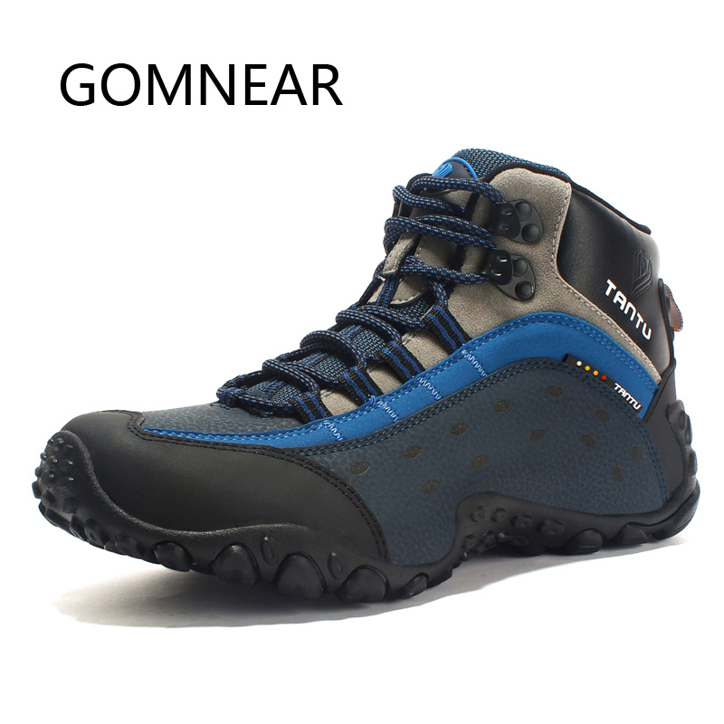 GOMNEAR Waterproof Trekking Shoes Man Leather Hiking Boots Men's Outdoor Mountain Climbing Shoes Hunting Hiking Shoes Sneakers