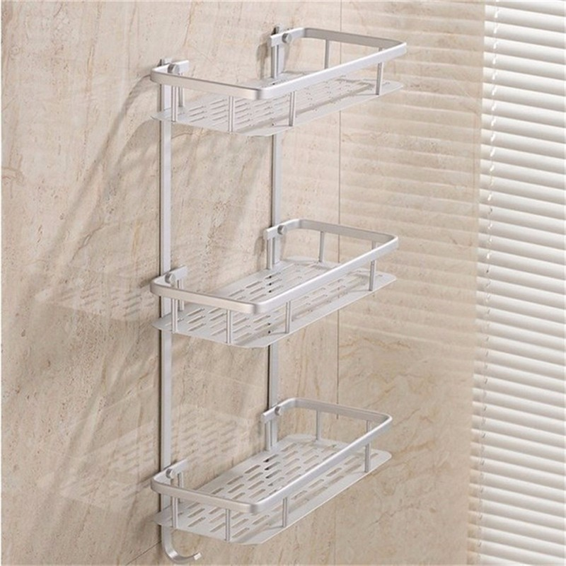 Xueqin Bathroom Shelves Alumimum 3 Tier Home Kitchen Bathroom Shower Storage Shelf Caddy Basket Rack wall mounted Bath Shelves