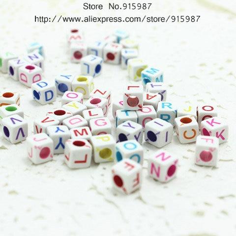 Black Round Acrylic letter single beads 1mm hole Alphabet loose 7x4mm A E M S