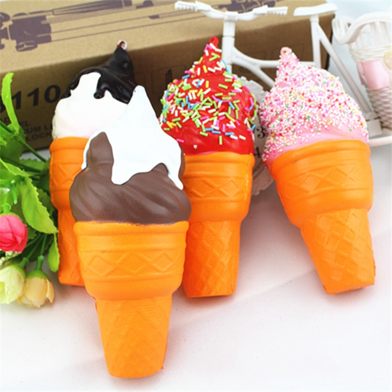17CM soft Car Decor scented squishy slow rising ice cream squeeze fun toys cell phone keys pendant Car Interior Accessories