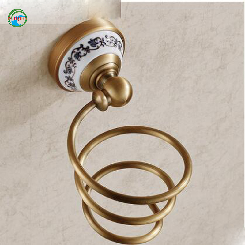 Classic Wall Mounted Hair Dryer Holder Antique Brass Hair Dryer Rack Bathroom Accessories Storage Shelves gold finish brass bathroom hair dryer holder wall mounted
