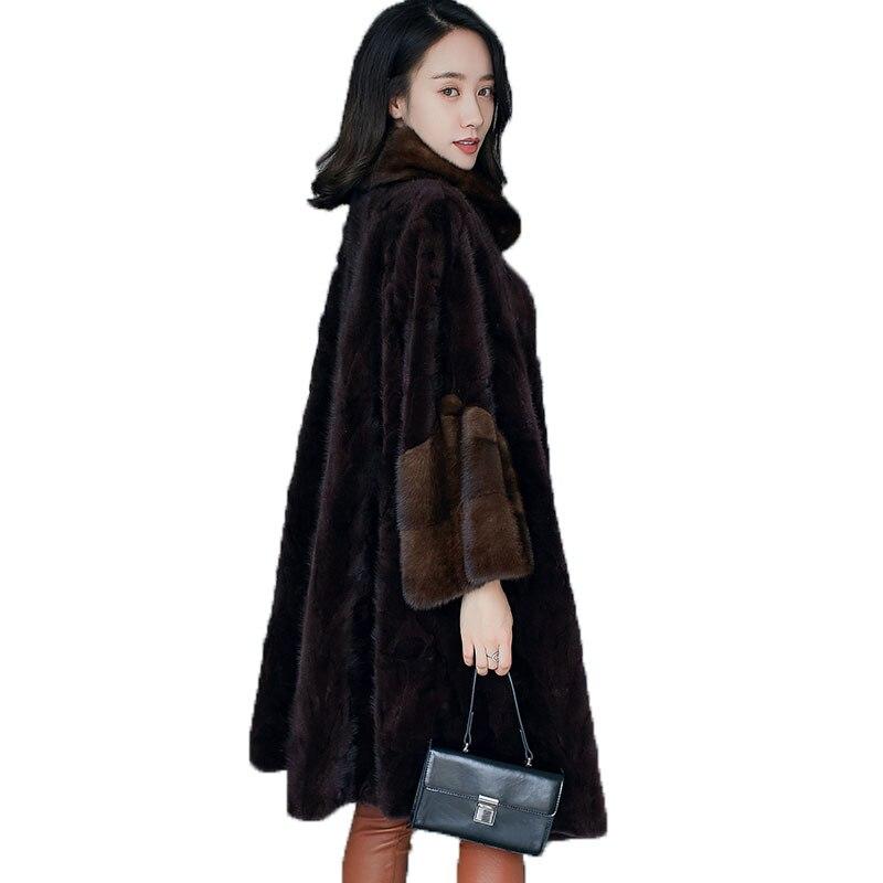 Норковая шуба Осенне зимнее пальто женская одежда 2018 натуральная Меховая куртка корейский элегантный тонкий длинные пальто Manteau Femme Hiver ZT896