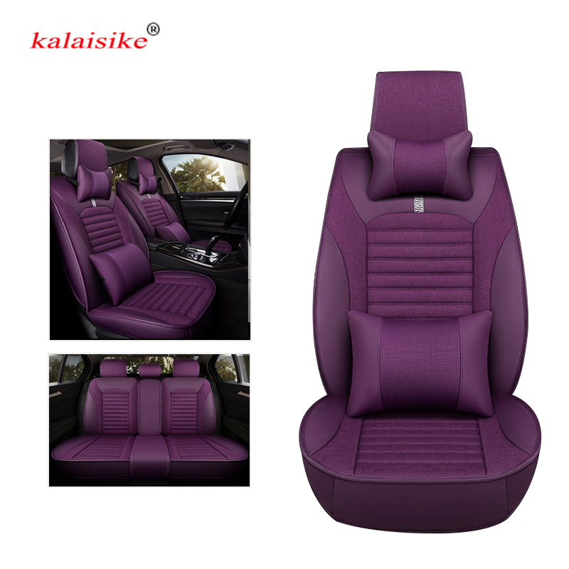 kalaisike leather plus Flax universal car seat covers for Luxgen all models Luxgen 5 7SUV 6SUV U5 SUV auto styling accessories