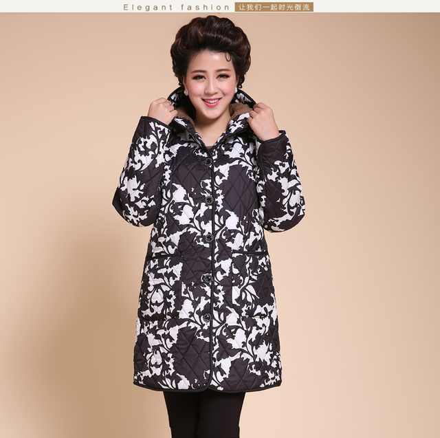 Plus size XL-4XL 5XL 6XL (Bust 132 cm) Middle-aged and old clothing Big yards padded mother dress autumn winter coat