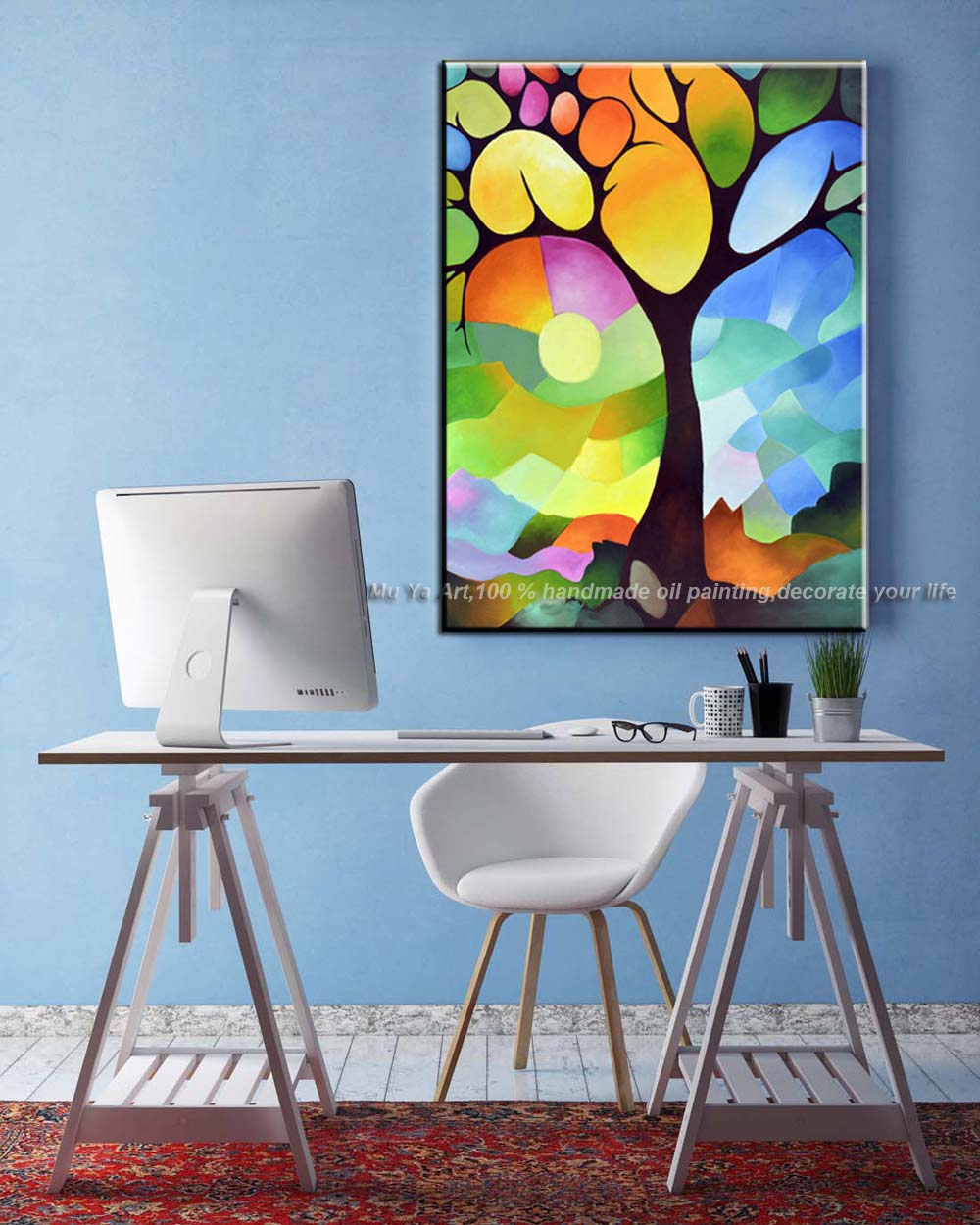 Vertical modern tree painting abstractas handmade canvas oil ...