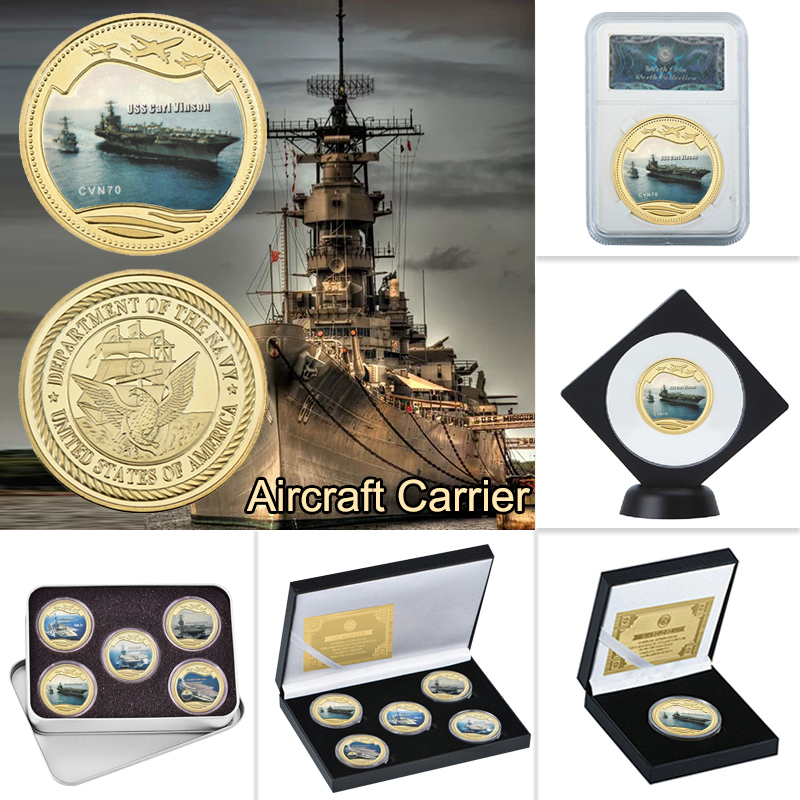 WR Navy Military Aircraft Carrier Gold Plated Coins Collectibles With Coin Box US Commemorative Coins Original Gift Dropshipping