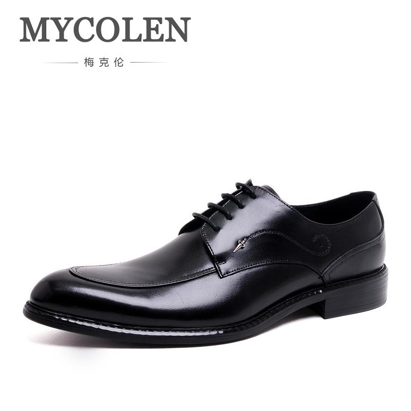 MYCOLEN Italian Dress Shoes Men Genuine Leather Black Red Business Shoes Wedding Man Flat With Buckle Sapatos De Couro Homens men shoes wedding dress italian style men oxford genuine leather lace up black flats shoes luxury brand shoes sapatos homens