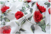 3D rosette fabric, printed chiffon lace fabric with 3D red flowers 1 yard