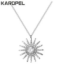 New Design Elegant Full Zircon CZ Sunflower Pendant Necklace Fashion Wedding Dinner Jewelry Gift