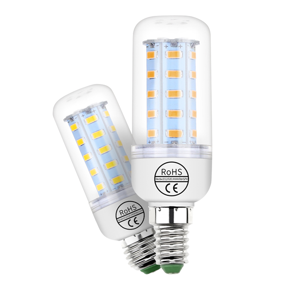 E14 LED 220V Candle Bulb E27 Corn Lamp 24 36 48 56 69 72 Leds Corn Light 5730 Led Bombillas For Home Indoor Lighting Ampoule