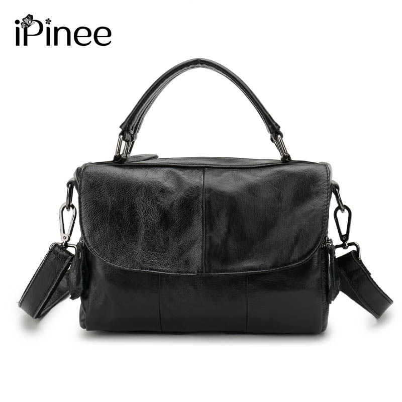 iPinee Europe Style Cowhide Splicing Female Bag Genuine Leather Womens Shoulder Bags Designer Oil Wax Leather