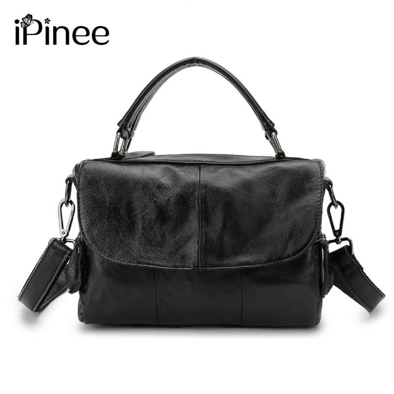 iPinee Europe Style Cowhide Splicing Female Bag ნამდვილი ტყავის ქალის მხრის ჩანთები დიზაინერი ზეთის ცვილის ტყავის ჩანთები