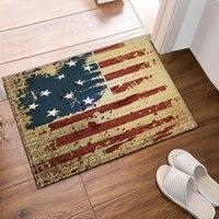 NYMB Viejo EE. UU. Bandera Americana Decoración Alfombras de Baño, Entradas de Suelo Antideslizante Estera de Puerta de Interior Al Aire Libre, 16X24 Pulgadas de Baño Estera