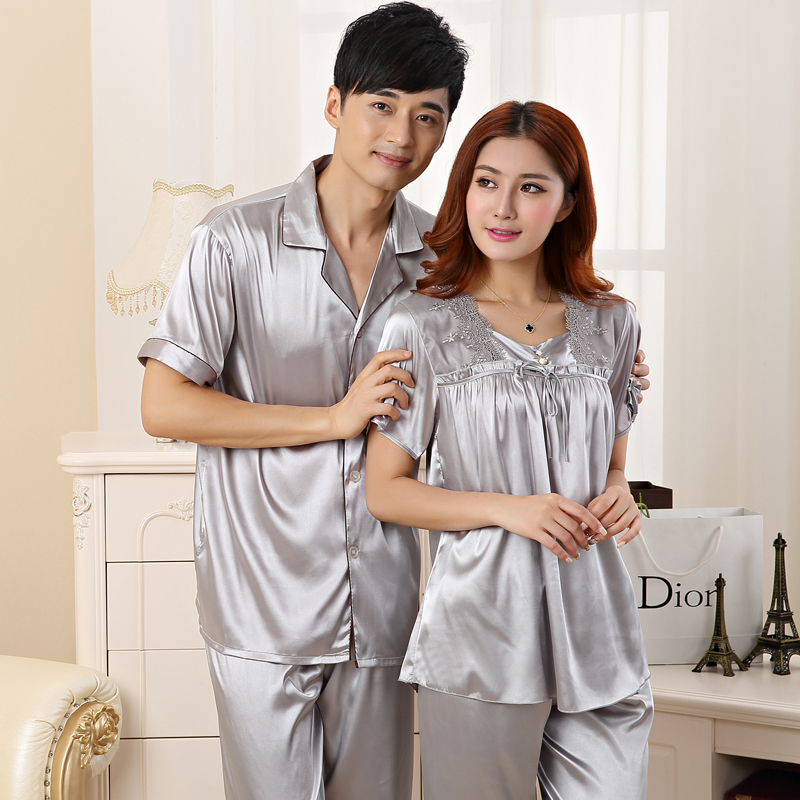 Couples Silk Satin   Pajamas     Sets   for Women 2019 Spring Autumn Short Sleeve Sleepwear Pyjama Lounge Homewear Pijama Mujer Clothing