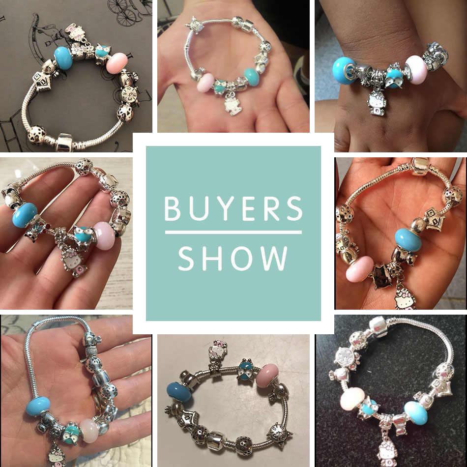 19a4ed0bd ... FOREWE 925 Silver Charm Bracelets Cute Cat Hello Kitty Pink Enamel  Murano Glass Beads Bracelet for