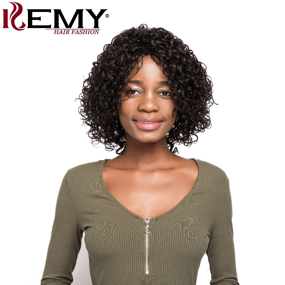 Pelucas de cabello humano corto para mujeres negras 150% densidad parte lateral extensiones de cabello pelucas brasileñas Remy Afro rizado pelucas KEMY pelo-in Peluca de encaje de cabello humano from Extensiones de cabello y pelucas on AliExpress - 11.11_Double 11_Singles' Day 1