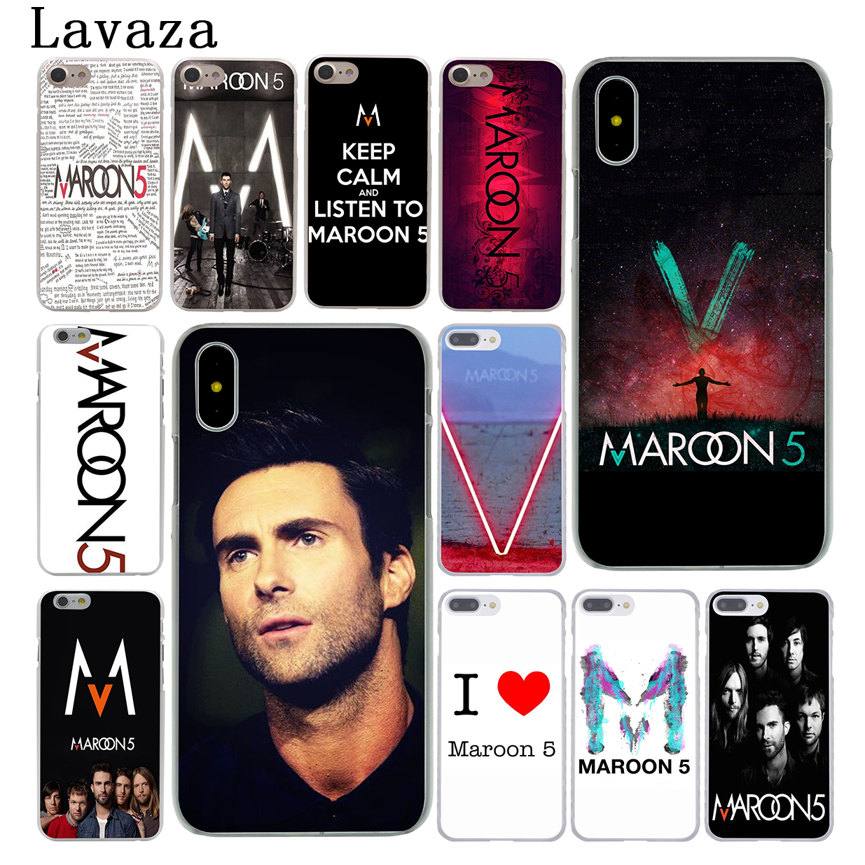 Lavaza maroon 5 Hard Phone Case for Apple iPhone X 10 7 6 6s 8 Plus 4 4S 5 5S SE 5C Coqu ...