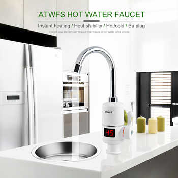 ATWFS Instant Hot Water Heater Tap Fast Instantaneous Thermostat for Water Heater 3000w Electrical Faucet Temperature Display