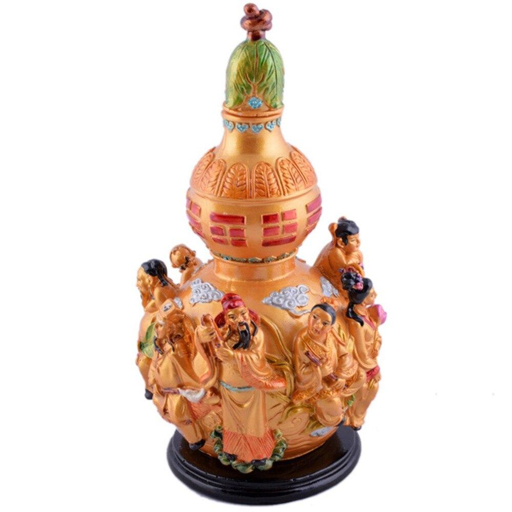 Grand Feng Shui couleur Wu Lou Wu Lu gourde avec huit immortels C1031Grand Feng Shui couleur Wu Lou Wu Lu gourde avec huit immortels C1031
